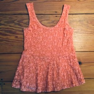 Coral Fitted Peplum Tank